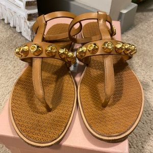 Miu Miu Gold and Tan Sandals